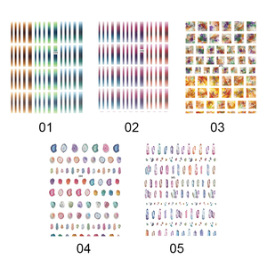 Image 4 - 1 sheet Gradient Striped Colorful Lines 3D Nail Art Sticker Adhesive Decal DIY Nail Accessories for Nail Decorations