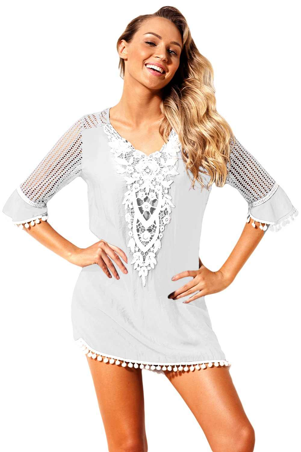 f709aff99d690 Zmvkgsoa Kaftan Beach Dress Women Summer Wear Crochet Mini Dresses Clothing  Tunic Beachwear For Girls Saida De Praia V42231