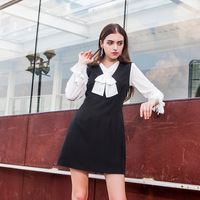 New And Winter Women Tie Shirt White Sleeveless Dress Temperament Set Two Piece Set E0959