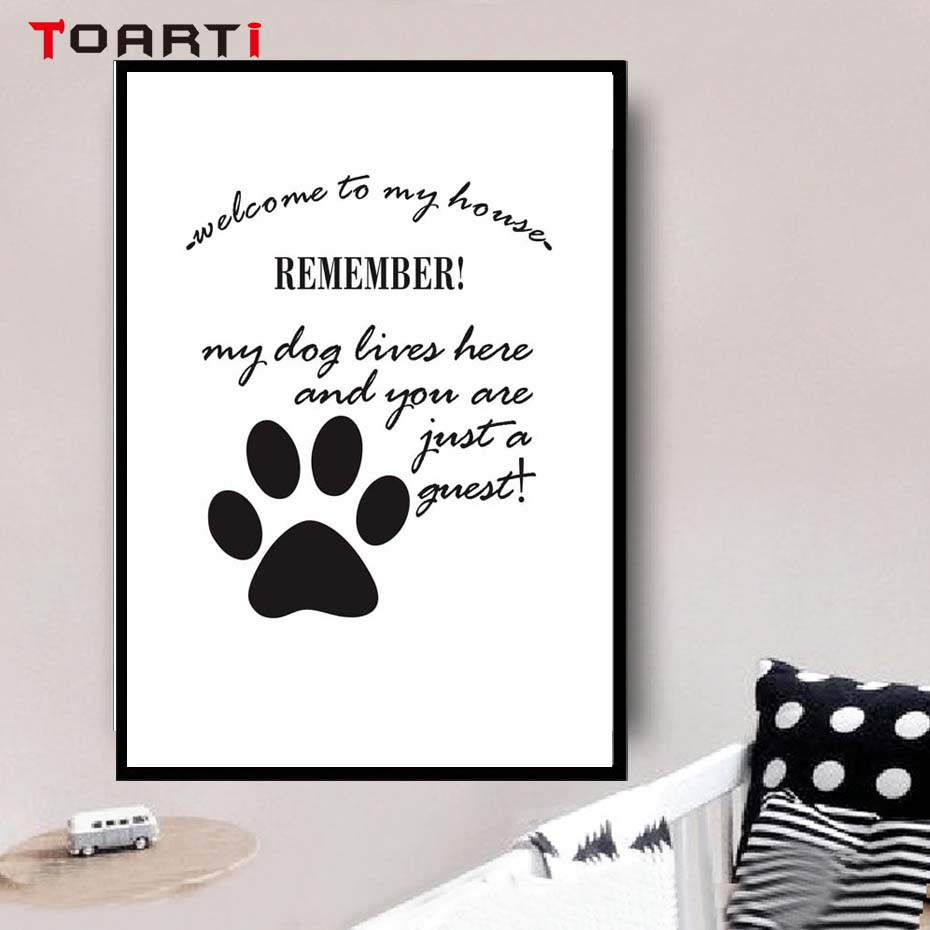 Us 2 15 28 Off Black White Dog Paw Wall Art Canvas Funny Poster Nursery Quote Print Nordic Painting Picture Children Room Decoration In