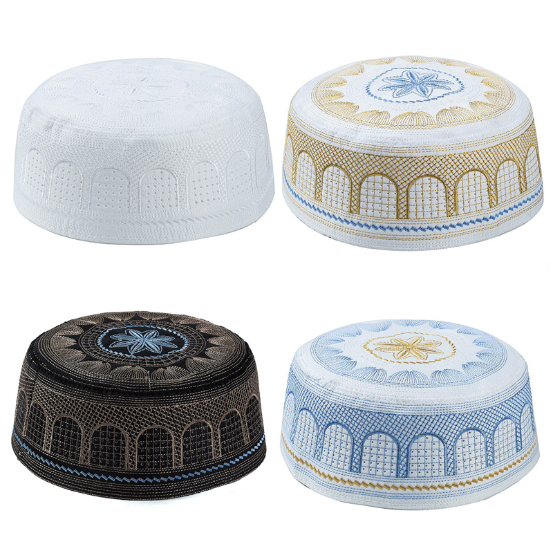 Arab Muslim Men Clothing Hats Jewish India Embroidery Prayer Hat Black White Blue Yellow Flat Top Innocent Hijab Cap For Man