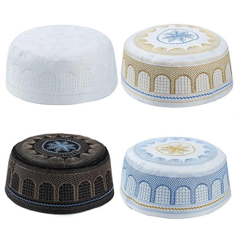 Arab Muslim Men Clothing Hats Jewish India Embroidery Prayer Hat Black White Blue Yellow Flat Top Innocent Hijab Cap For Man
