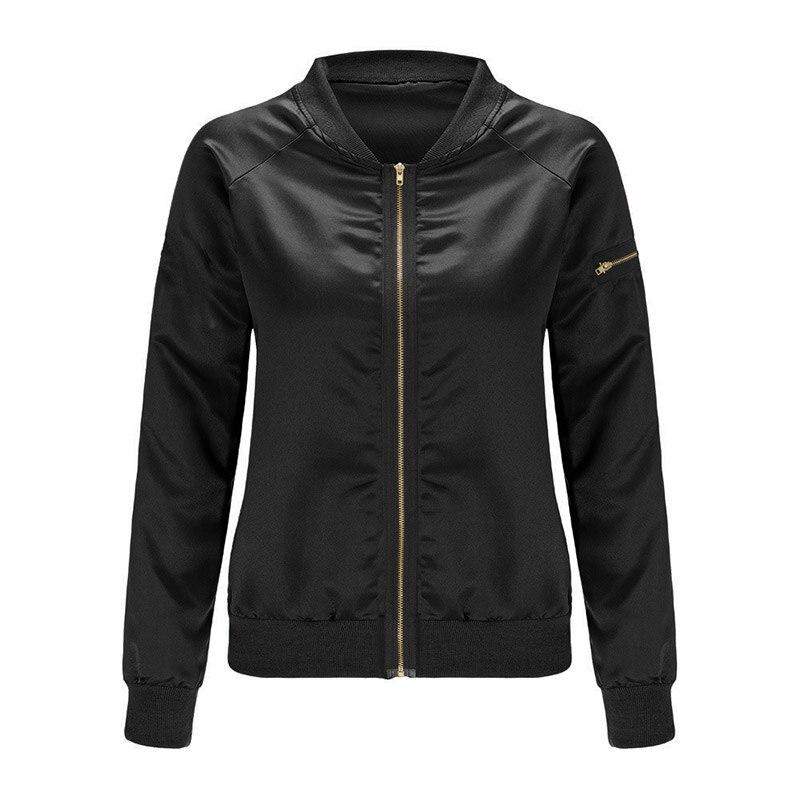 2017 Spring Autumn font b Women b font Thin Jackets Tops Bomber Jacket Long Sleeve Zipper