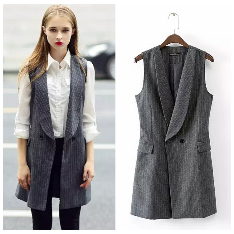 Women High Quality Office Wear Striped Line Long Vest Coat ...