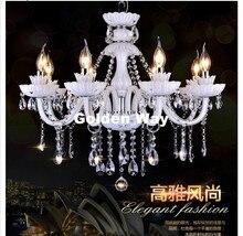 Kostenloser Versand Weiß K9 Kristallleuchter Lustre Kristall Kronleuchter Licht Lüster De Cristal Kronleuchter LED Villa Weiße Lampe