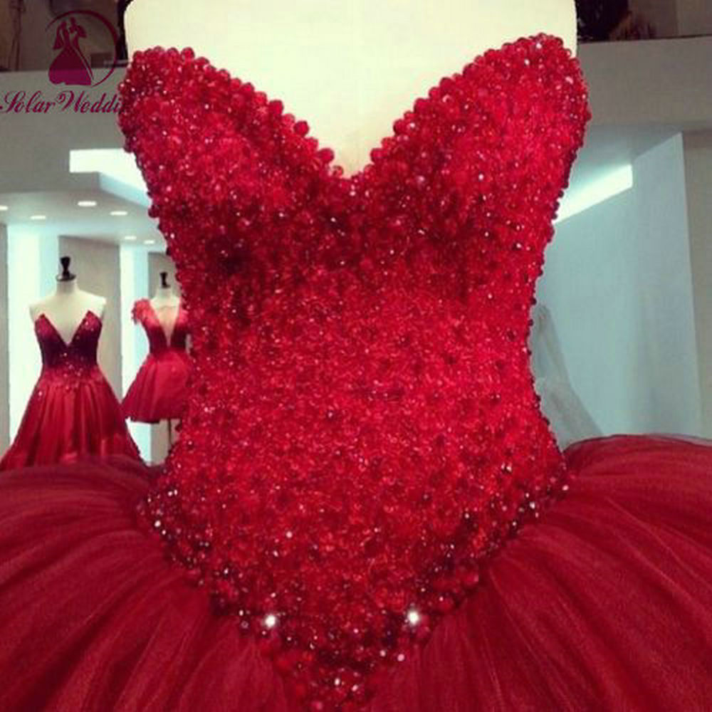 Buy dark red ball gown tulle pearl beaded for Dark red wedding dress