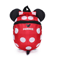 Disney Baby backpack 1-3 years old child bag Cute cartoon mickey Minnie boys and girls baby kindergarten bag with anti-lost rope
