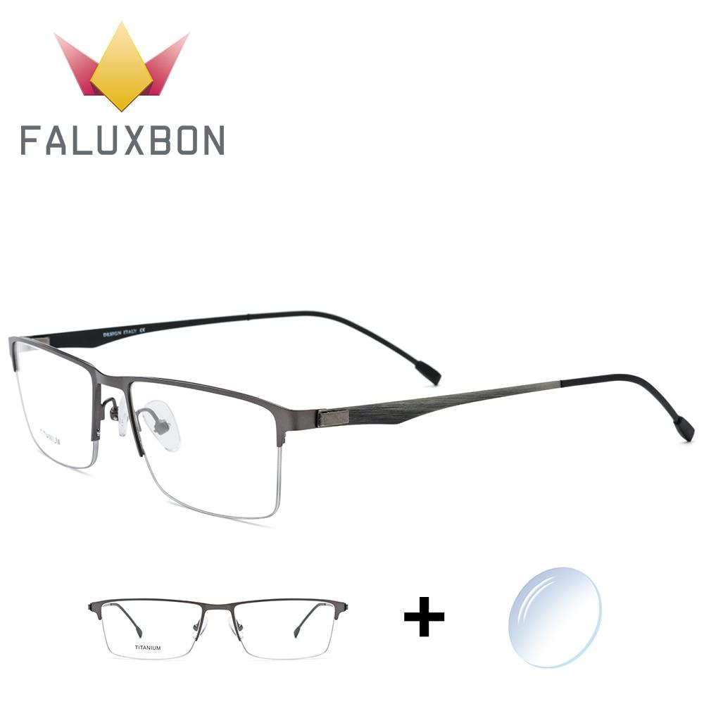 Anti 2019 c2 Spektakel Brillen Blau Licht Legierung Transparent Myopie Brille Männer Verordnung C1 Rechteck c3 Halb Randlose Optische c4 Titan ZqB11P