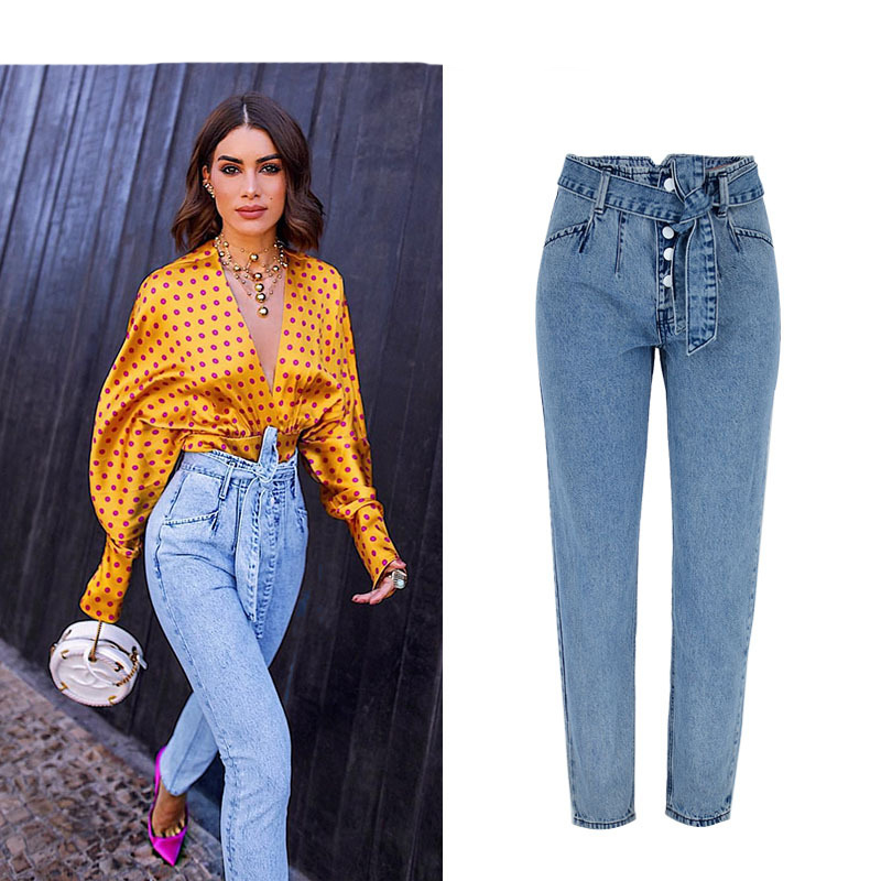 New 2019 Irregular Ripped Jeans For Women Softener Pencil Jeans High Waist Regular Jeans Woman Trousers Denim Mom Jeans Pants