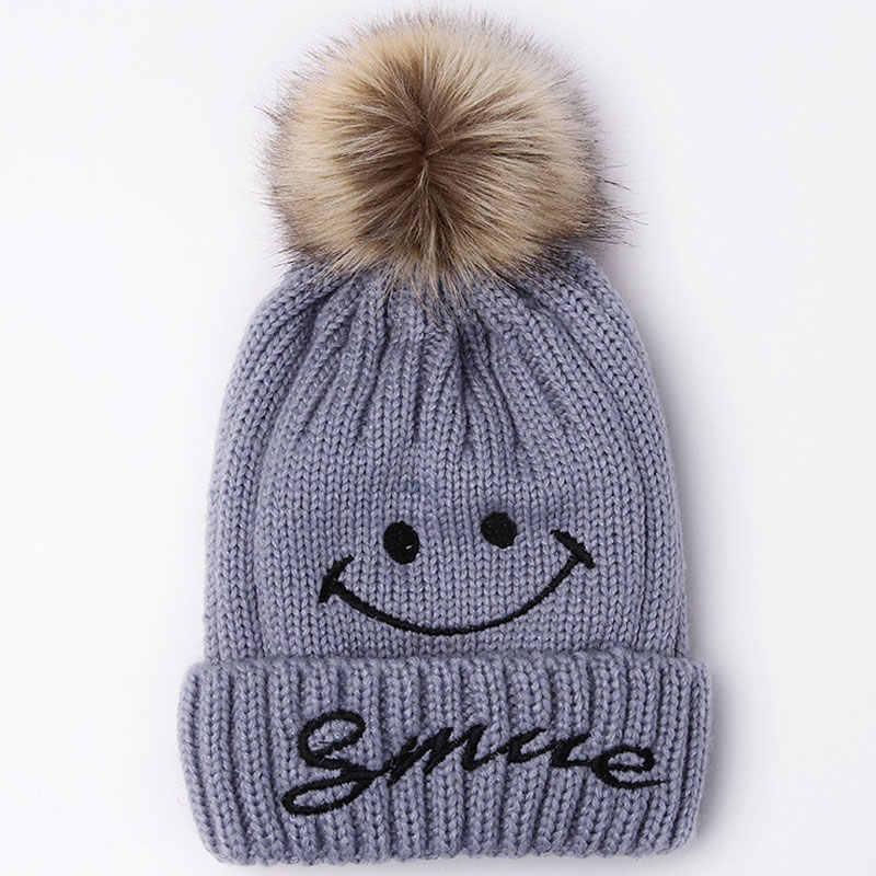 75696e79014 Cute Winter Warm Fleece Lined Ski Cap Knit Smile Beanie Faux Fur Pom Pom  Hats for