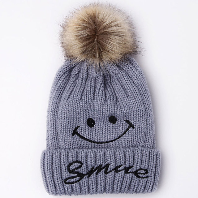 Cute Winter Warm Fleece Lined Ski Cap Knit Smile Beanie Faux Fur Pom Pom  Hats for Women dae75ee67c3