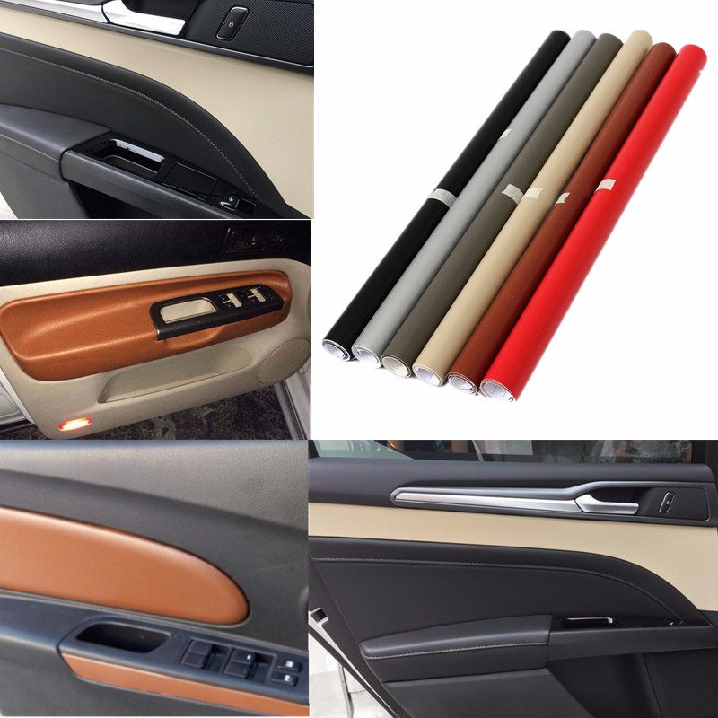 150 x 50cm leather texture vinyl car interior sticker decal sheet film decor car beige silver