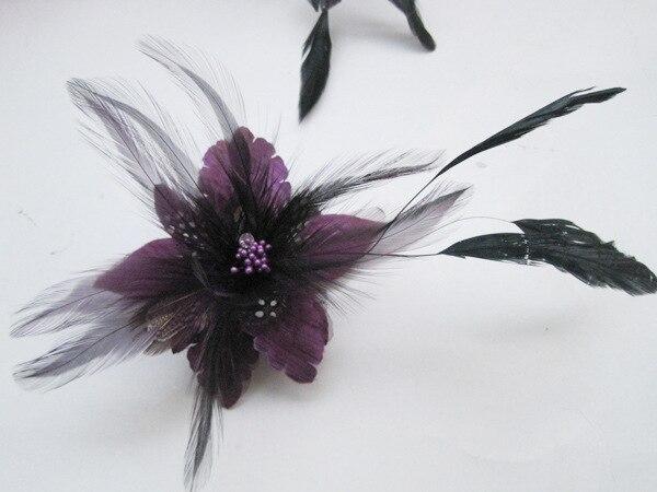 Purple Flower Hair Accessories Woman Decoration Brooch Wedding Party Barrettes Hair Clip Bridal Wedding Feather Headdress