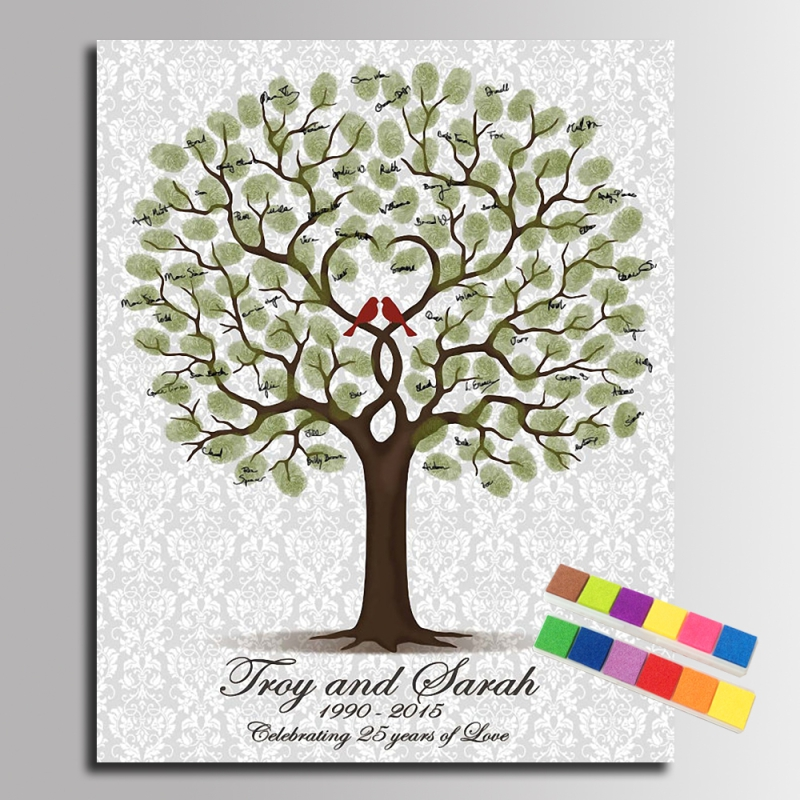 Fingerprint Tree Signature Painting Loved Birds Wedding Green Tree ...