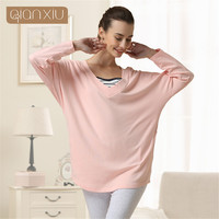 Qianxiu Pajamas Women's Lounge Set Pyjamas Bat sleeve lounge wear Cotton Underwear Suit Womens V Neck Long Sleeve Pajama Sets