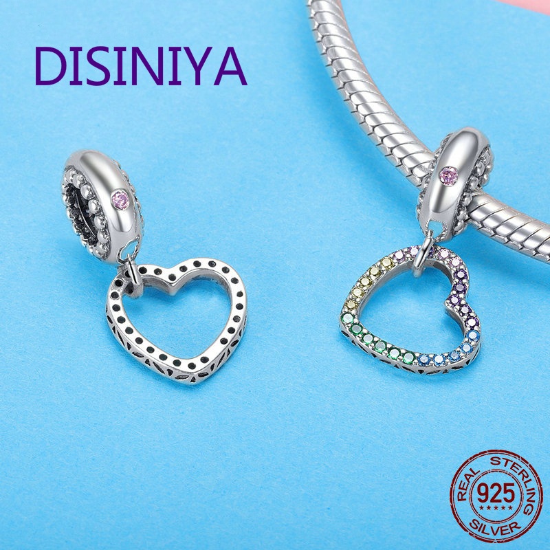 DISINIYA Romantic New 925 Sterling Silver Rainbow Heart Shape Charms Beads fit Bracelets Necklaces DIY Jewelry Accessories SCC89 in Beads from Jewelry Accessories