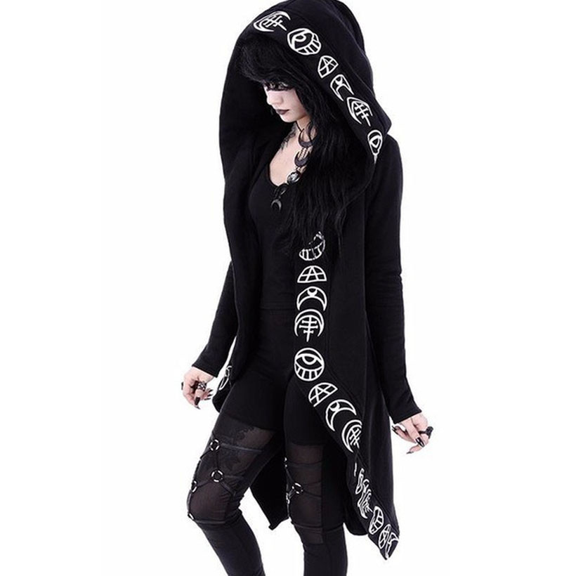 5XL Ladies Punk Moon Printed Long-sleeve Hoodies Women Plus Size Loose Halloween Sweatshirt Dress Christmas Hoodie Autumn Black