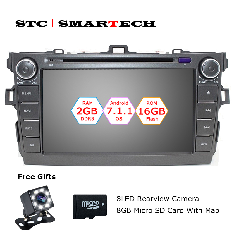 SMARTECH 2 Din Android 7.1.2 OS Car DVD Player GPS Navigation Autoradio For Toyota Corolla 2007-2011 Quad Core 2GB RAM 16GB ROM