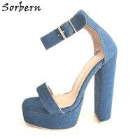 Sorbern Azul Jean Sandalias Para Mujeres de la Plataforma zapatos de Tacón Alto Tobillo Correa de Dedo Del Pie Cuadrado Denim Tacones Gruesos de Tamaño 34-46 Colores personalizados