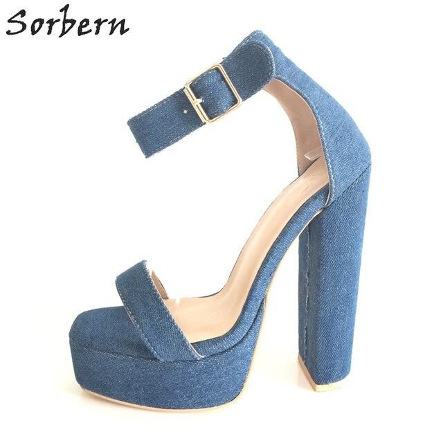 Pour Sorbern Jean Femmes Hauts Forme Bleu Talons Sandales Plate 0wkOPn
