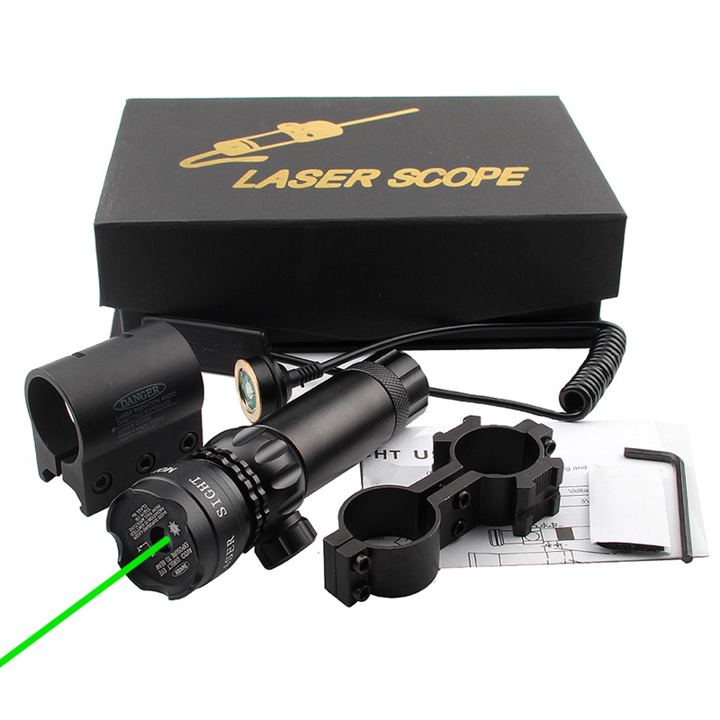 Adjustable Green Laser Sight with Mount & Remote Pressure Switch 3-1G-06