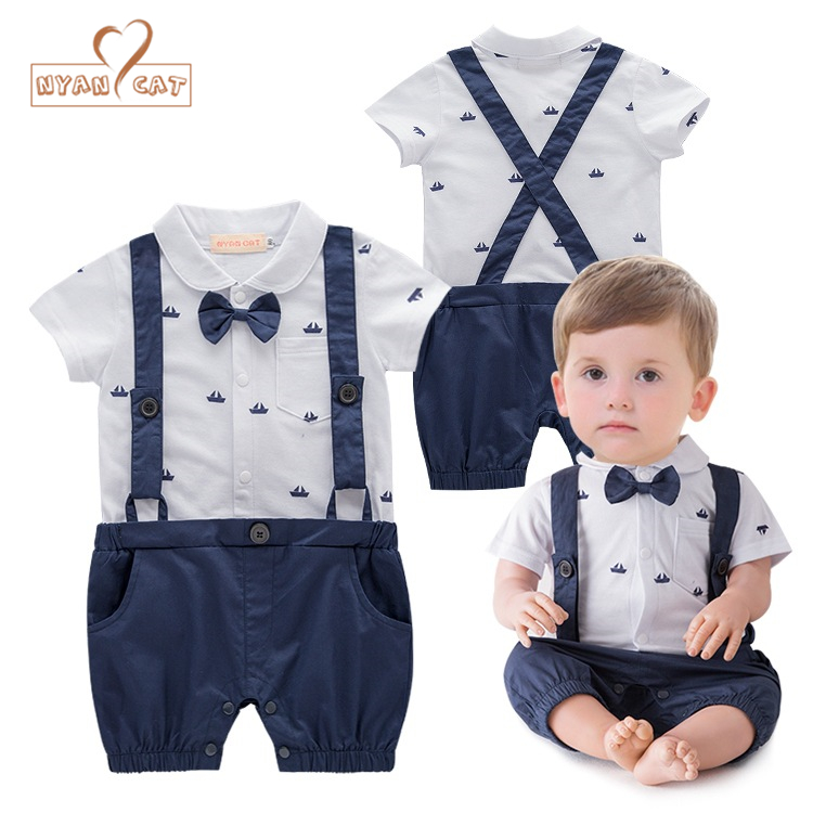 NYAN CAT Infant Clothing Baby Boy Jumpsuit Gentleman Bow Tie short sleeved Faux Suspenders Romper Onesie Children event Costume nyan cat baby boy clothes short sleeves gentleman bow tie vest romper hat 2pcs set outfit jumpsuit rompers party cotton costume