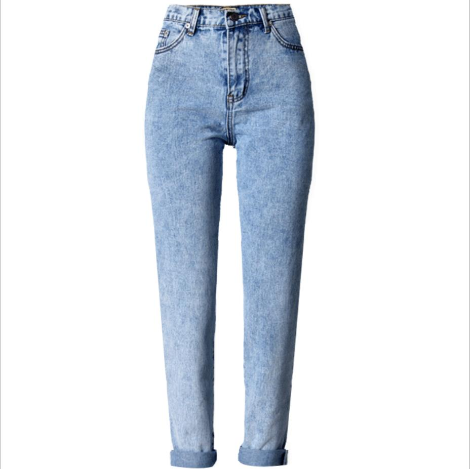 2019 Spring autumn High Waist Boyfriend   Jeans   Women snow Denim Pants Mom straight   Jeans