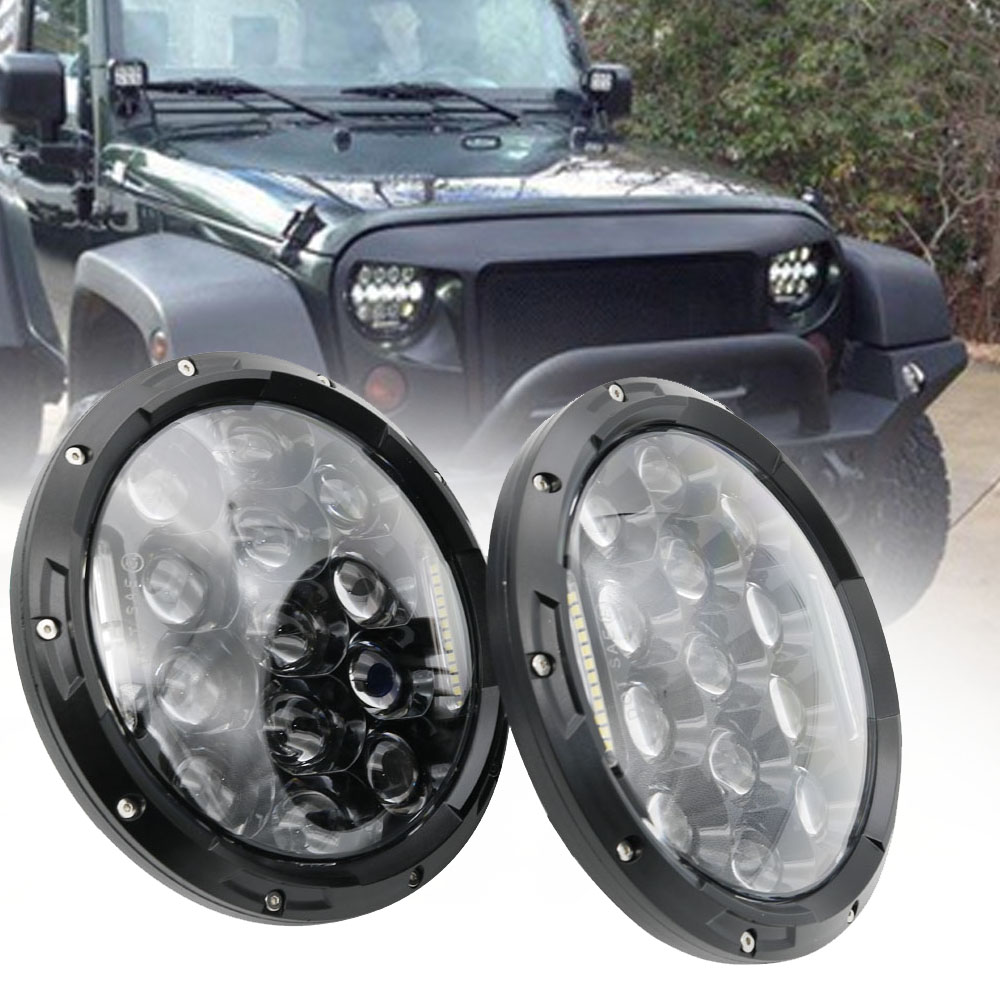Pair 75W 7 Inch Led Headlight H4 H13 High Low Beam Cars Driving Lights for Jeep