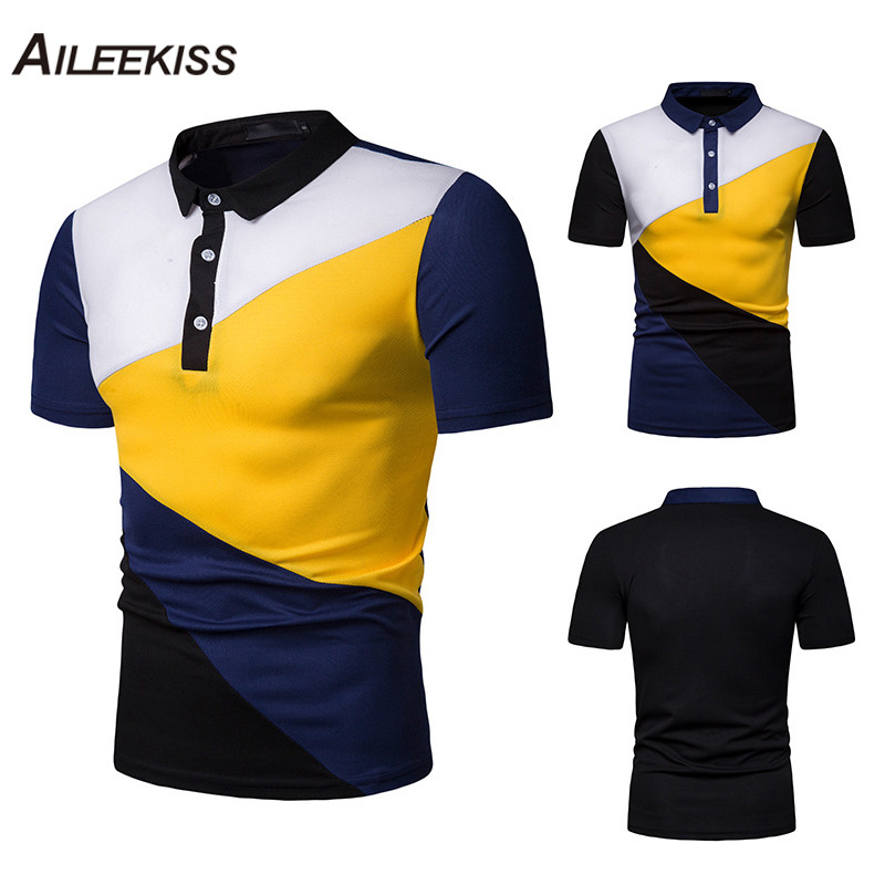 US Size 2019 Contrast Color Summer Men   Polo   Shirts Short Sleeve Man Brand New   Polo   Shirt Casual Mens Clothing Slim Tops XT810