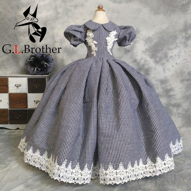 Лолита Стиль платья принцесс 2018 новый хлопок платье с цветочным узором для девочек бальное платье пол Длина плед вечерние платье детское пл