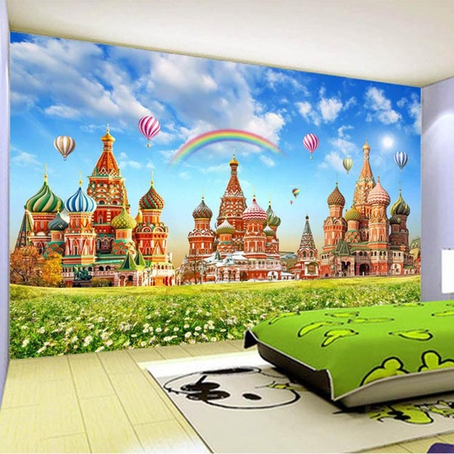 Photo wallpaper hd children 39 s room rainbow hot air balloon for Castle mural wallpaper