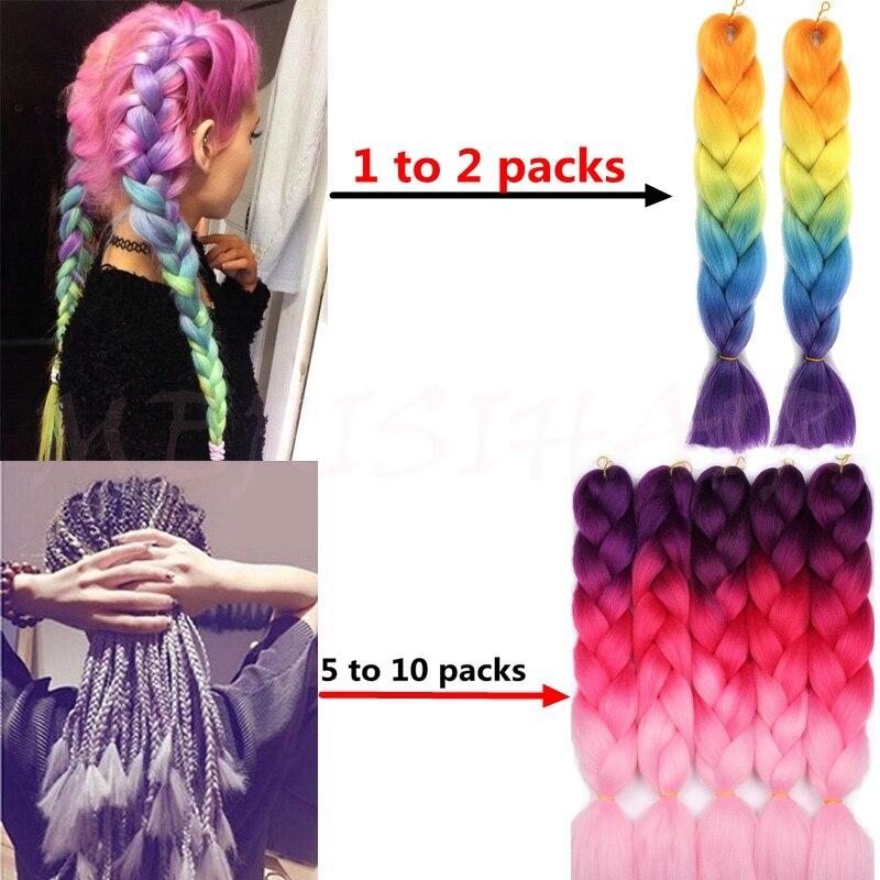 MERISIHAIR 24inch Ombre Kanekalon Synthetic Braiding Hair Crochet Hair Extensions Jumbo Braids Hairstyles Blonde Red Blue Grey +--+