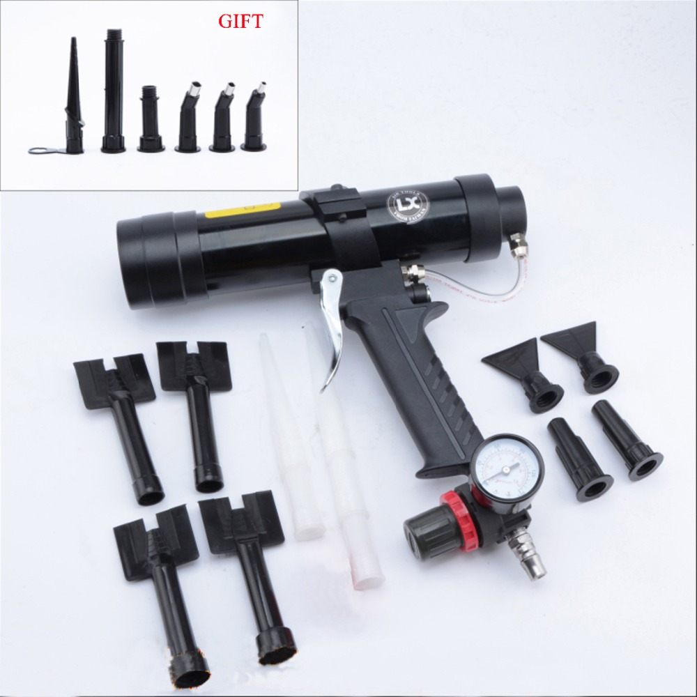 Pneumatic Glass Caulking Gun Wave Pattern Glue Gun Set Rubber Nozzle Use For Car Sheet Metal Pneumatic Glue Gun Finishing Tools