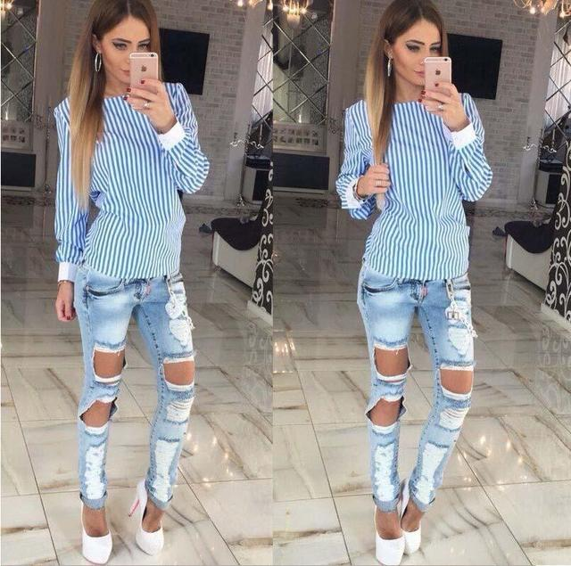 Women Sexy Bowknot Backless Striped  Shirts Long Sleeve O neck Shirt Women Bandage Novelty Female Tops Plus Size
