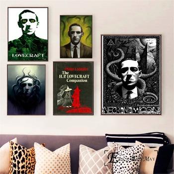 Lovecraft straszny portret plakaty i druki Wall art ozdobny obraz na płótnie malarstwo do salonu Home Decor Unframed tanie i dobre opinie Wodoodporny tusz Malowanie natryskowe Rysunek malarstwo Klasyczne Pojedyncze Eric and May Cotton Canvas Painting Płótno wydruki