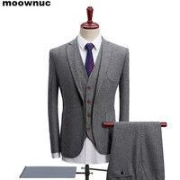 2019 New style Men's Single breasted suits Business casual suit Men's wear Wedding dress classic high qualit gray suit for men