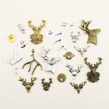Fashion Jewelry Making Animal Deer Head Antlers Jewelry Findings Components Mix Pendant недорого