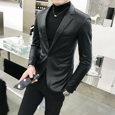 Solid Black Slim Fit Blazer Hombre PU Leather Jacket Men One Button Business Casual Prom Blazers For Men Korean Suit Coat Islamabad