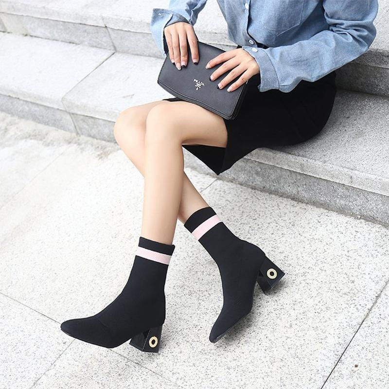 Fashion Ankle Elastic Sock Boots Chunky High Heels Stretch Women Autumn Sexy Booties RED BLACK boots red sexy stretch waistband tracksuit