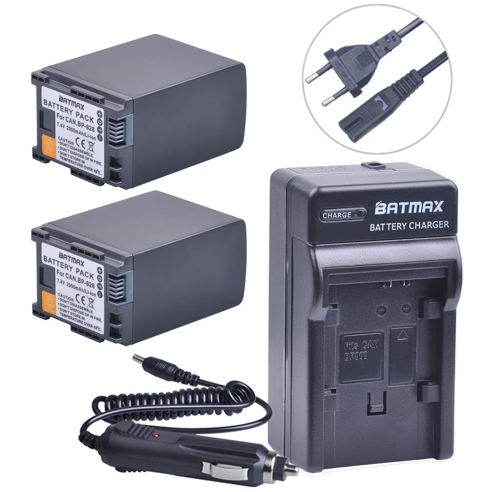 2Pcs BP-828 BP 828 Batteries + Charger Kits for Canon VIXIA GX10, XF400, XF405, HFG20, HFG30, HFG40, HFM30, HFM31, HFM32, HFM300