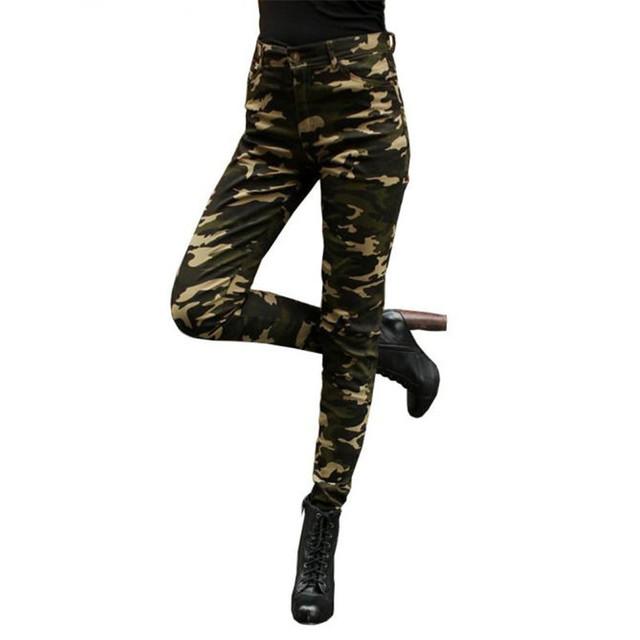 Nuevos Pantalones de Algodón de Las Mujeres Ceñida Pantalones de Camuflaje Militar mujeres Moda Verde Se13
