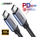 Ugreen USB 3.1 Type C to USB C Cable for Samsung S9 S8 Note 9 8 60W PD Quick Charge 3A USB-C Fast Charger Cable for MacBook Pro