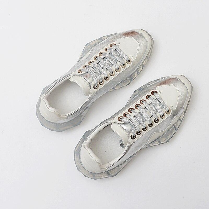 2019 printemps plus récent en cuir véritable baskets femmes chaussures Oxford semelle Chunky baskets Harajuku décontracté papa chaussures plate-forme baskets