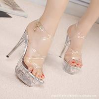 2016 Summer women pumps 14 cm super high heels crystal sandals female professional sexy models T pump big size 42 43 women shoes