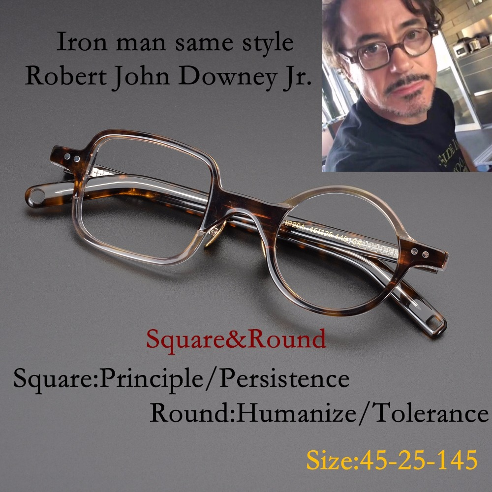 Vintage Quality Acetate eyeglasses Iron man same style square round frame HP201 eyewear women men original