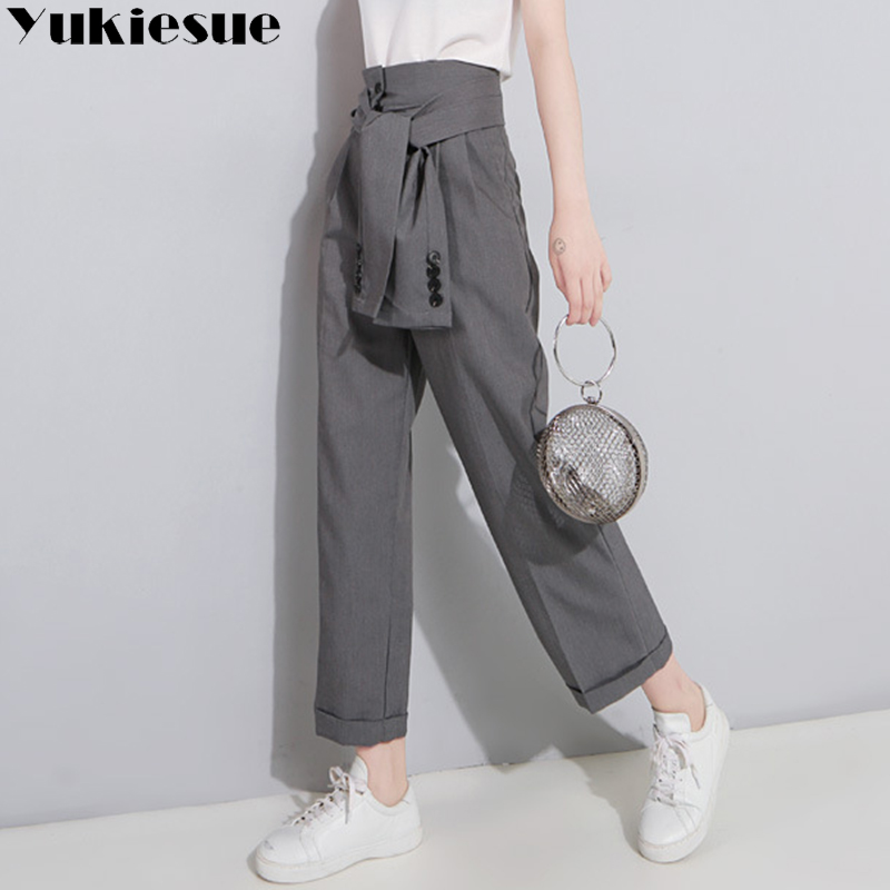 Streetwear harem   pants     capri   women 2018 autumn summer loose trousers for women fake 2pieces womens   pants   female pantalon femme