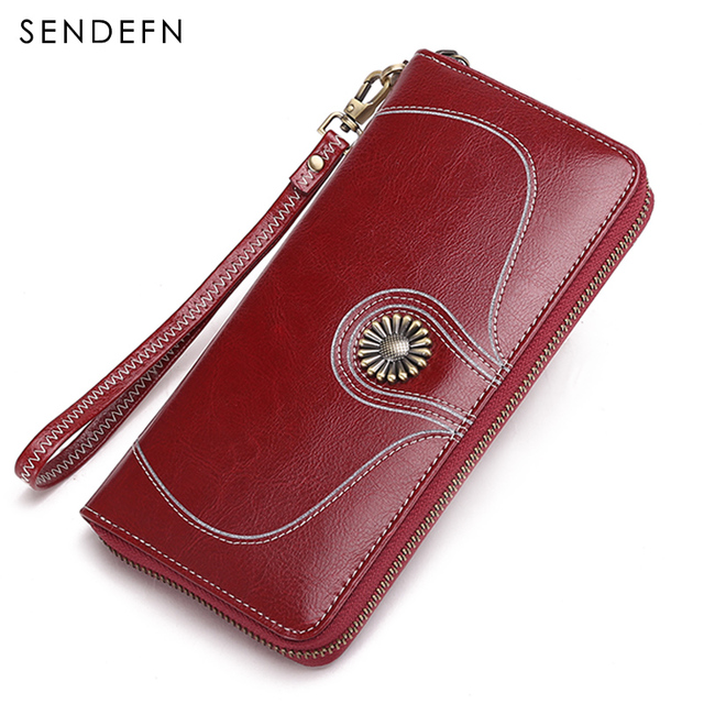 Sendefn Quality Women's Purse 2018 New Purse Long Zipper Women Purse Rfid Women Wallets Brand Money Bag Can Hold 5.5 inch Phone