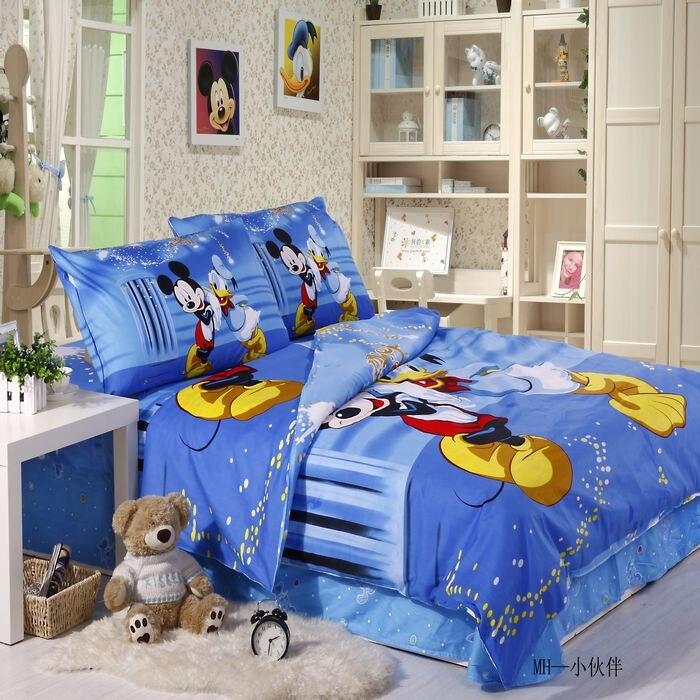 Donald Duck Mickey Mouse ropa de cama Juegos de Cama 100% tela de algodón azul c