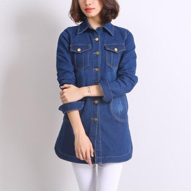 Осень Женщины Темно-Синий Длинные Джинсовые Куртки Грудью Закрытие Боковыми Разрезами Корейский Стиль Моды Свободно Случайные Пальто