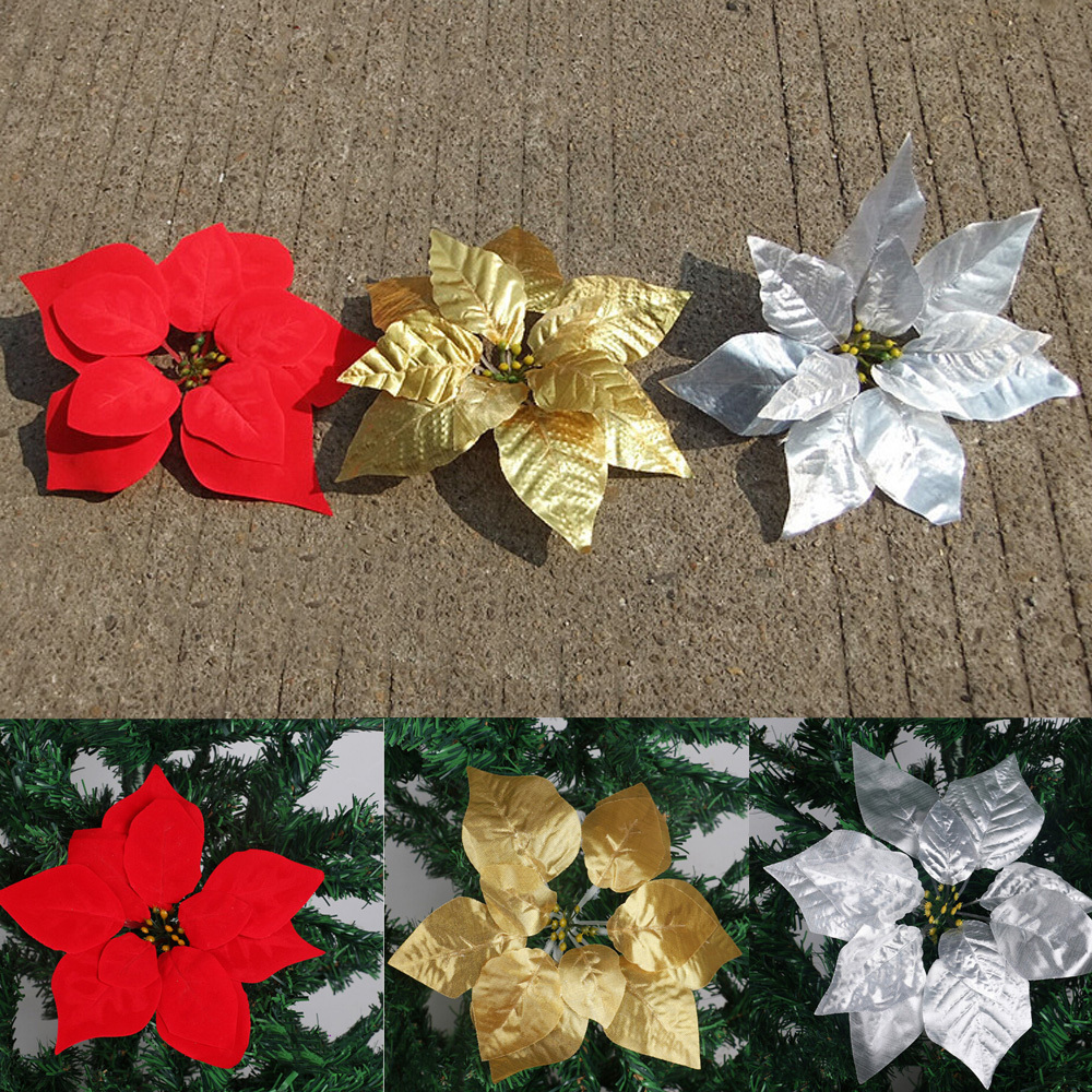 Artificial flowers silk flowers Christmas poinsettia ...